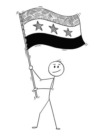 Cartoon drawing conceptual illustration of man waving the flag of Syrian Arab Republic or Syria.