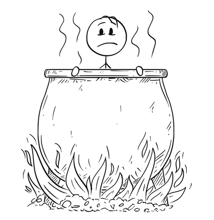 Cartoon stick drawing conceptual illustration of man or businessman who is boiling or boiled in big cauldron in hell for his sins. Illustration