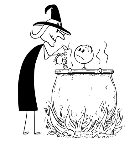 Cartoon stick drawing conceptual illustration of man boiled by evil witch in cauldron. Vettoriali