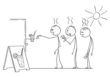 Cartoon stick drawing conceptual illustration of three men waiting in queue to buy soda,water or lemonade drink in hot summer weather. Illustration