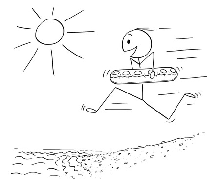 Cartoon stick drawing conceptual illustration of happy excited man with inflatable swimming ring running on the beach to water to enjoy summer vacation on seaside. Illusztráció