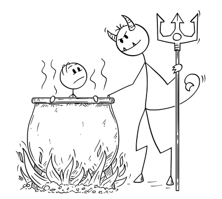 Cartoon stick drawing conceptual illustration of man or businessman who is boiled for his sins by devil or Satan in big cauldron in hell. Illustration