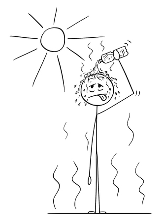 Cartoon stick drawing conceptual illustration of man standing on Sun in hot summer weather or heat and pouring water from plastic bottle on his head.
