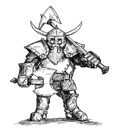 Vector artistic pen and ink doodle drawing illustration of fantasy dwarf warrior in horned helmet and heavy armor and holding two axes.