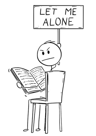 Cartoon stick drawing conceptual illustration of annoyed man sitting on chair and reading a book. He is looking angry, because is disturbed by viewer and holding let me alone sign. Vektoros illusztráció