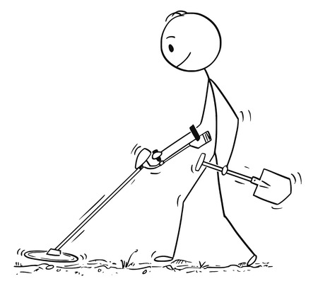 Cartoon stick drawing conceptual illustration of treasure hunter with spade searching with metal detector.