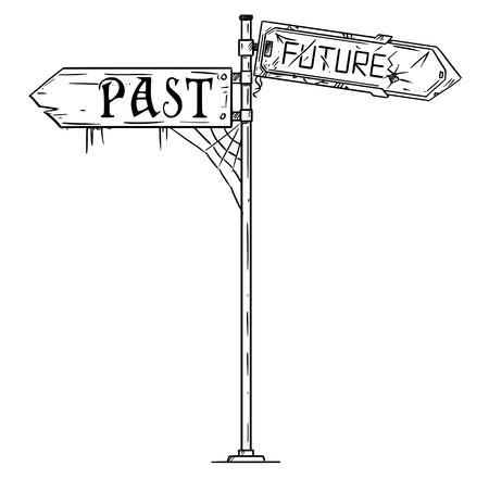 Illustrazione artistica del disegno a penna e inchiostro di vettore del segno della freccia di traffico con testo passato e futuro. Entrambe le frecce sono danneggiate e sporche. Concetto di aspettative pessimistiche.
