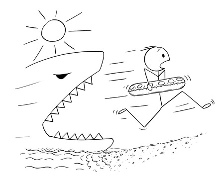 Cartoon stick drawing conceptual illustration of man holding inflatable swimming ring and running on the beach away from big or giant shark or fish.