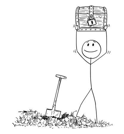 Cartoon stick drawing conceptual illustration of happy man who found a treasure chest buried under ground.