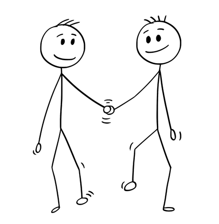 Cartoon stick drawing conceptual illustration of homosexual couple of two gay men walking together and holding each others hand.