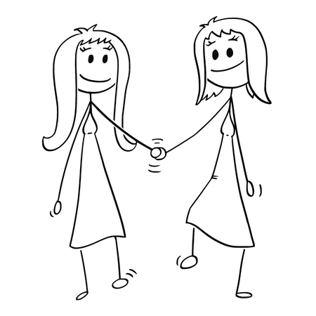 Cartoon stick drawing conceptual illustration of couple of two women walking together and holding each others hand.