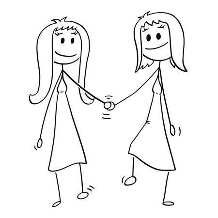 Cartoon Stick Zeichnung konzeptionelle Illustration von Paaren von zwei Frauen, die zusammen gehen und sich gegenseitig die Hand halten.