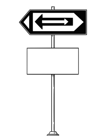Vector artistic pen and ink drawing of confusing traffic sign with arrows inside arrows pointing both left and right and empty or white space for your text.