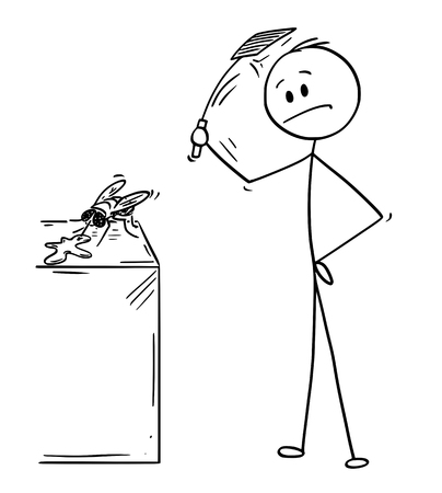 Cartoon stick drawing conceptual illustration of man hitting and killing a fly with swatter or flapper or fly-flap.
