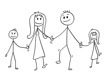 Cartoon Stick Zeichnung konzeptionelle Darstellung der Familie. Eltern, Mann und Frau und zwei Kinder, Junge und Mädchen gehen, während sie Händchen halten. Standard-Bild