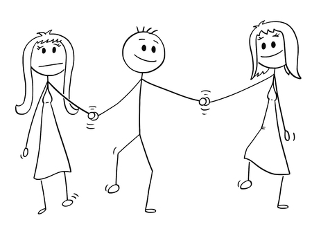 Cartoon stick drawing conceptual illustration of heterosexual couple of man and woman walking together and holding each others hand. Man is also holding hand of another woman, probably mistress.Concept of infidelity.