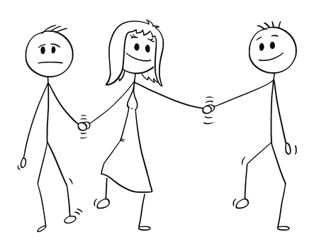 Cartoon stick drawing conceptual illustration of heterosexual couple of man and woman walking together and holding each others hand. Woman is also holding hand of another man, probably lover. Concept of infidelity.