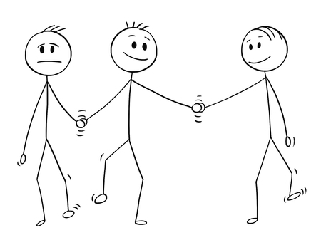 Cartoon stick drawing conceptual illustration of homosexual couple of two gay men walking together and holding each others hand. One of them is also holding hand of another man, probably lover.Concept of infidelity. Ilustração