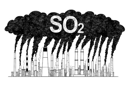 Vector artistic pen and ink drawing illustration of smoke coming from industry or factory smokestacks or chimneys into air. Environmental concept of sulfur dioxide or SO2 air pollution.