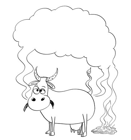Vector artistic pen and ink black and white drawing illustration of cow producing methane or CH4. Environmental concept of air pollution and greenhouse gasses production. There is empty space for your text.