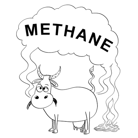 Vector artistic pen and ink black and white drawing illustration of cow producing methane or CH4. Environmental concept of air pollution and greenhouse gasses production.