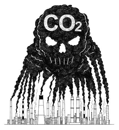 Vector künstlerische Feder- und Tintenzeichnungsillustration von Rauch, der aus Industrie- oder Fabrikschornsteinen oder Schornsteinen kommt, die eine menschliche Schädelform in der Luft erzeugen. Umweltkonzept von giftigem und tödlichem Kohlendioxid oder CO2-Luftverschmutzung.