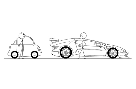 Cartoon stick drawing conceptual illustration of comparison of two men or businessmen. Successful and rich man owns expensive and luxury super sport car, poor guy owns small and cheap car. Business concept of success, wealth and poverty.