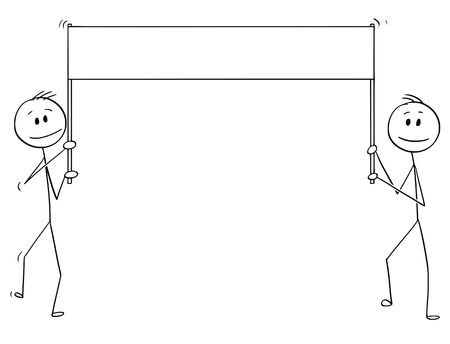 Cartoon stick drawing conceptual illustration of two men walking with empty, blank or white banner or placard. There is space for your text.