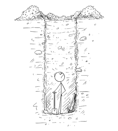 Cartoon stick drawing conceptual illustration of man trapped alone down on the bottom of deep and huge hole in the ground he dig, most likely as water well.