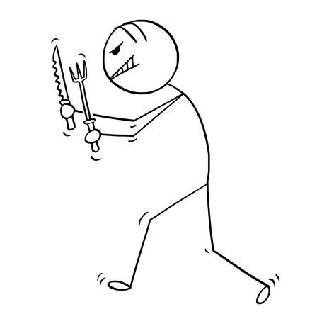 Bâton de bande dessinée dessinant une illustration conceptuelle d'un homme fou et fou marchant avec une fourchette et un couteau. Il est prêt à manger. Vecteurs