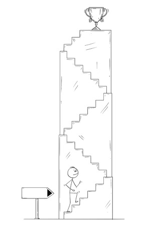 Cartoon stick drawing conceptual illustration of man or businessman walking up the stairs for winner's trophy cup. Business concept of career and success. Illustration