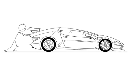 Cartoon stick drawing conceptual illustration of man or businessman pushing his broken or out of gas expensive luxury super sport car. Concept of wealth and certainties. Vektoros illusztráció