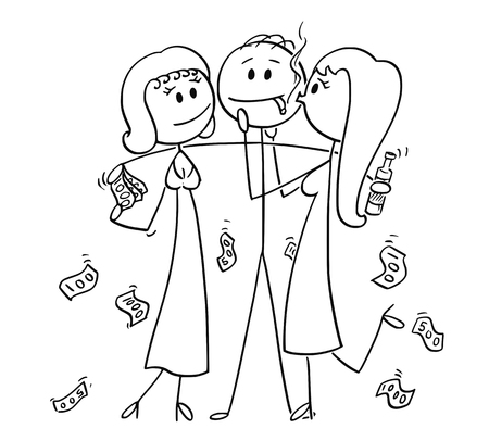 Cartoon stick drawing conceptual illustration of successful and rich man or businessman holding two girls hugging and kissing him for money. 向量圖像