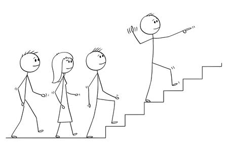 Cartoon stick drawing conceptual illustration of leader leading a team of business people upstairs. Business concept of leadership and management.