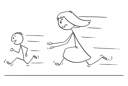 Cartoon stick drawing conceptual illustration of frustrated and angry mother chasing naughty and disobedient son. Иллюстрация
