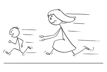 Cartoon stick tekening conceptuele afbeelding van gefrustreerde en boze moeder die ondeugende en ongehoorzame zoon achtervolgt.