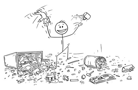 Cartoon stick drawing conceptual illustration of naughty or disobedient little boy doing mess in room by throwing toys all around.