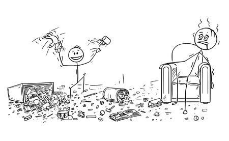 Cartoon stick drawing conceptual illustration of naughty or disobedient little boy doing mess in room by throwing toys all around. Exhausted father is sitting in armchair.