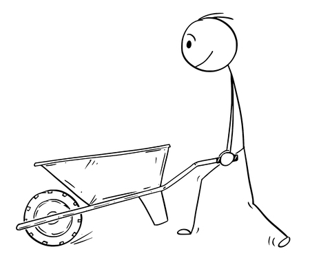 Cartoon stick drawing conceptual illustration of man pushing empty wheelbarrow. 向量圖像
