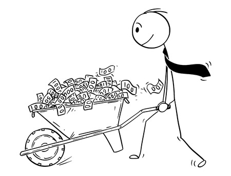 Cartoon stick drawing conceptual illustration of man or businessman or politician pushing wheelbarrow full of money or cash or banknotes. Vector Illustration