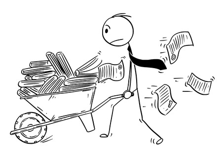 Cartoon stick drawing conceptual illustration of man, businessman or clerk pushing wheelbarrow full of office files and documents. Business concept of bureaucracy and paperwork.
