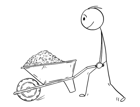 Cartoon stick drawing conceptual illustration of man pushing wheelbarrow with sand,soil,mud,mulch,compost, dirt or earth.