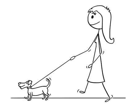 Cartoon stick drawing conceptual illustration of woman walking with small dog on a leash.