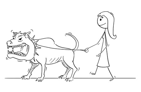 Cartoon stick drawing conceptual illustration of woman walking with big or giant dangerous monster beast dog on a leash.