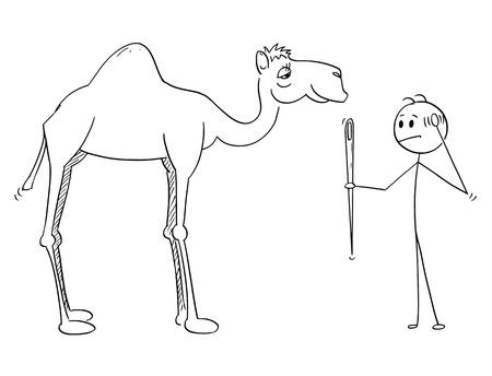 Dibujo de palo de dibujos animados de hombre sosteniendo una aguja y pensando en su ojo y camello pasando. Ilustración de la cita del Talmud o la Biblia sobre el hombre rico y el reino de Dios.