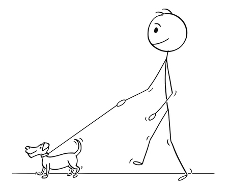 Cartoon stick drawing conceptual illustration of man walking with small dog on a leash.