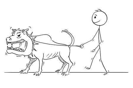 Cartoon stick drawing conceptual illustration of man walking with big or giant dangerous monster beast dog on a leash.