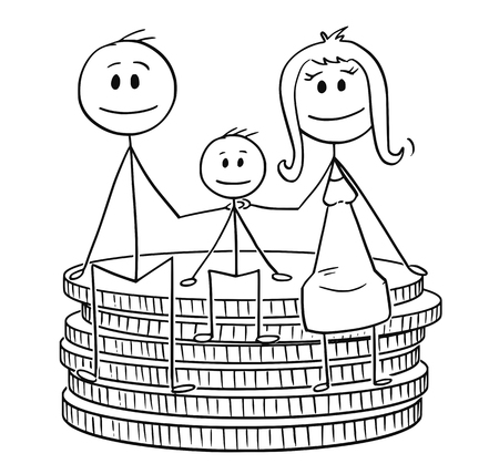 Cartoon stick drawing conceptual illustration of happy family sitting on small stack of coins. Concept of family finance and budget. Vetores
