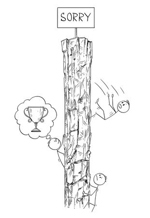 Cartoon stick drawing conceptual illustration of men or businessmen climbing the rock hoping to win the trophy or victory on the top, but there is just sign saying sorry. Business concept of challenge, competition and success. Çizim
