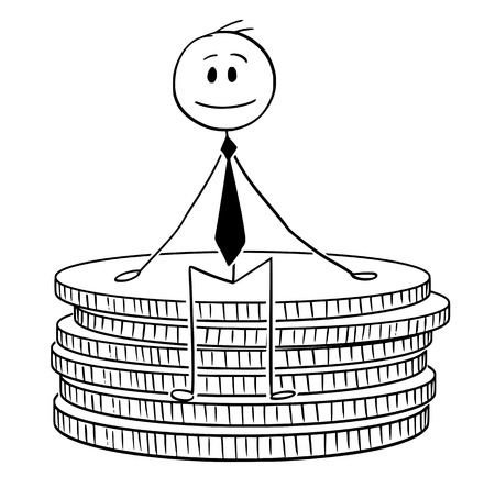 Cartoon stick drawing conceptual illustration of businessman sitting on small stack of coins.Business concept of wealth, savings and finance.